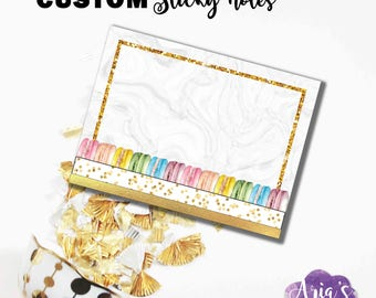 Custom 3x4 Sticky Notes - Macaron Delight - Colorful Watercolor Macarons Macaroons, Gold Glitter, Marbled - 1 BIC Sticky Note, 25 sheets