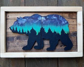 Aurora borelis northern lights bear grizzly trees night sky galaxy universe Westcoastkitsch Vancouver Island reclaimed rustic wood cutout
