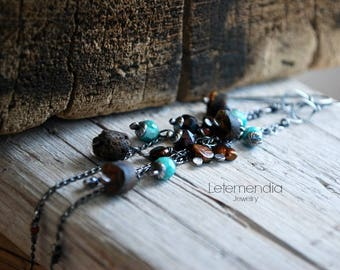 Long Chain Earrings Sterling Silver Gemstones Letemendia Jewelry Handmade Boho