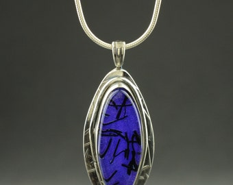 Fine Silver and Purple Dichroic Glass Necklace