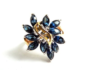 Vintage 14K Gold Plated Blue Sapphire Cocktail Ring - Synthetic Marquise Cut Gemstones Statement Wedding Ring Size 7.50 - Signed