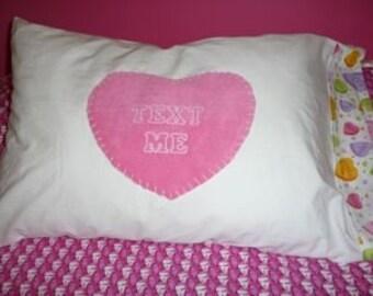 Conversation Heart Pillowcase