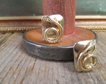 Vintage Whiting and Davis Goldtone Snake Earrings.