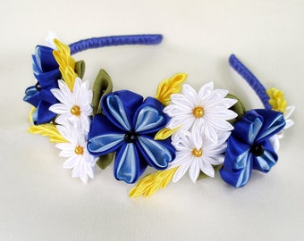 Blue headband Girl gifts Flower headband Adult headbands Blue wedding headband Kanzashi headband Cornflower Daisy crown White blue accessory