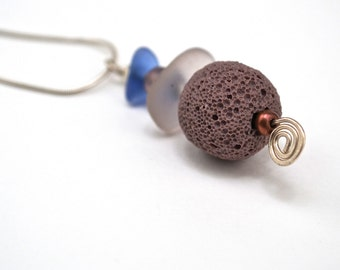 PEI Cornflower Blue and Lavender Sea Glass Necklace