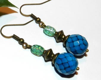 Baroque style glass beads in blue and turquoise earrings
