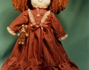 "Soft Cloth Doll Pattern For ""JESSICA and HER BEAR"" Free Shipping"