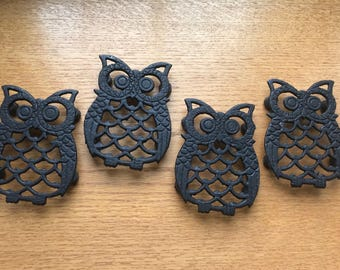 Set of 4 Cast Iron Owl Trivets/Coasters | Vintage Owl Wall Decor | Owl Trivet Set |
