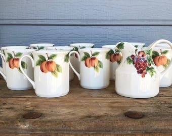 Set of 11 Royal Doulton Vintage Grape Mugs, Royal Daulton Grape Coffee Cups With Creamer, Mugs With Peaches, Made In England