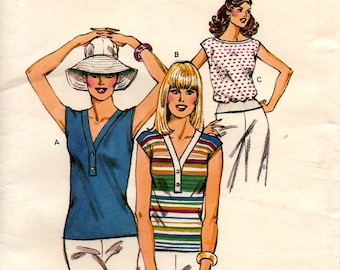 1990's Misses' PULLOVER TOP PATTERN Kwik Sew 985 Size Extra Small - Large Shaped Neckline Boat Neck Vintage Sewing Gray Mountain Goods