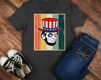 Retro Colored - Abraham Lincoln - lincoln shirt - lincoln tee - lincoln outfit - lincoln clothing - abe lincoln shirt - abe lincoln tee