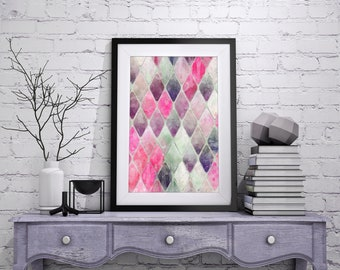 Geometric Art, Abstract Diamonds in Fuchsia, Taffy Pink and Plum Purple Shades, Watercolor, Printable, Modern, Abstract, Home Decor Wall Art