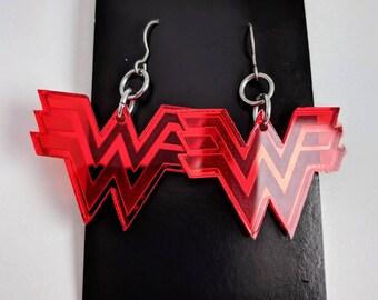 Mirrored Red Wonder Woman Earrings, Lasercut Acrylic GeekStar Geek Jewelry