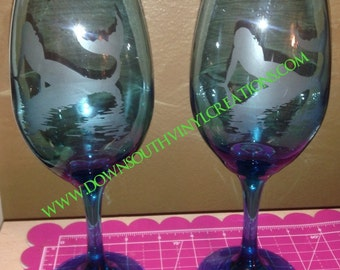 Etched Mermaid Wine Glass Set