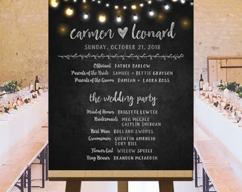 Large custom wedding party sign on chalkboard with fairy lights, twinkle lights wedding, chalkboard wedding signs, DIGITAL