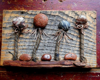 Art Assemblage Rock Garden with beach rocks and found objects, Sculpture, Rustic Reclaimed decor for your cabin, camp, cottage or home