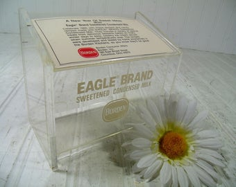 Lucite Recipe Box Eagle Brand by Borden Clear Card Holder - Sweetened Condensed Milk Collectible Container Holds & Protects File Cards Stand
