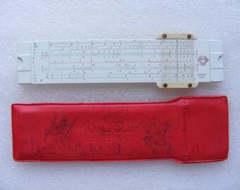 Slide Rule, Vintage Logarex 27205 , Logarithmic Ruler , Logarithmic Slide Ruler  In Original Case , Slide Rule made in Czechoslovakia