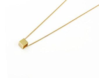 Vintage Brass Cube Necklace