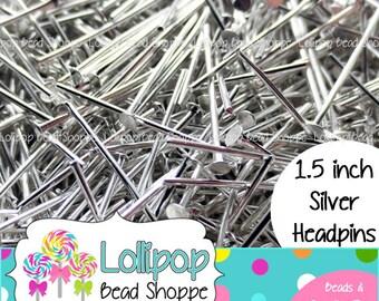 "150 ct Silver HEADPINS 38mm 1.5 inch 1 1/2"" - Flat Head - Jewelry Findings - Silver Head Pins"