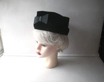 1960s Black Velvet Pillbox Hat - Satin Ribbon Bow with Rhinestones