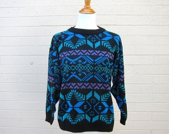 Vintage Geometric Print Sweater Black Teal Purple Blue Aztec Print S M L 80s