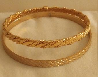 Vintage Set Of 2 Goldtone Metal Bangle Bracelets