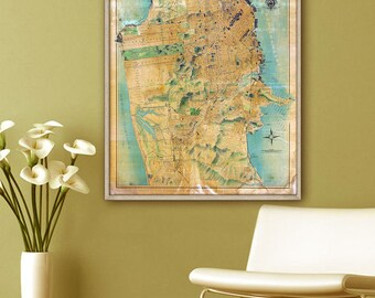 """San Francisco map 1915, Vintage map of San Francisco, CA, 4 sizes up to 36x43"""" large wall map SF, also in blue - Limited Edition of 100"""