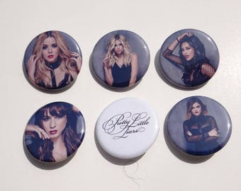 "1.25"" Pretty Little Liars Pinback Pack Pins Buttons Badges Shay Lucy Ashley Troian PLL"