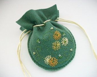Jewelry Pouch Green Felt Drawstring Bag with Hand Embroidered Silk Flowers Crystals and Swirls Handsewn