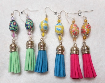 Easter Earrings,Easter Egg Earrings,Tassel Earrings,Easter Jewelry,Easter Egg Earrings,Spring Earrings,Spring Jewelry,Your Choice 3 Colors