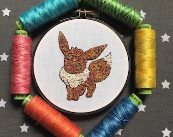 Floral Pop Eevee Pokemon Hand Embroidery - Original 4 inch Needlework Fan Art