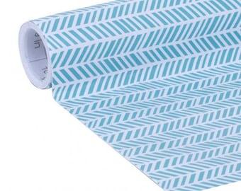 Blue Herringbone Print Self- Adhesive Laminate Paper, Contact paper, 20 inches x 12 ft per roll.