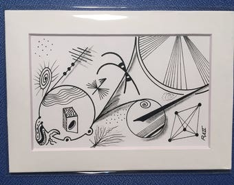 Space #3 doodle art PRINT black and white
