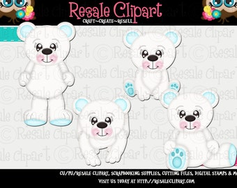 Polar Bear Cuties Blue Clipart (Digital Download)
