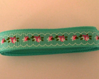 Green Grosgrain Ribbon with Pink Flowers  1 Yard