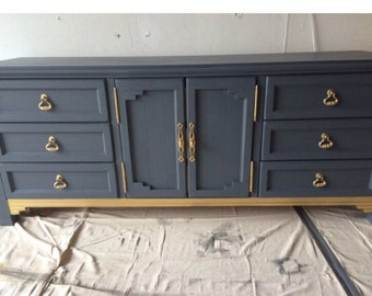 Blue and Gold Dresser, Buffet, Credenza, Bedroom Set, Custom, furniture, Mid Century Modern