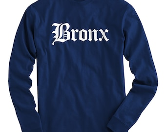 LS Bronx Tee - Gothic NYC Long Sleeve T-shirt - Men and Kids - S M L XL 2x 3x 4x - Bronx Shirt - 4 Colors