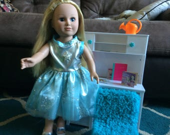 18 inch doll dress with blue and silver with snowflakes