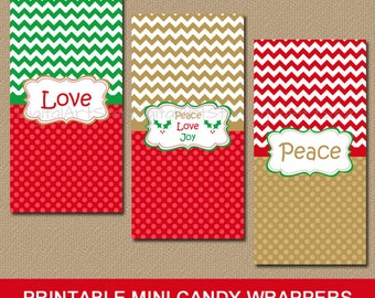 Printable Christmas Candy Wrappers - Peace Love Joy - Christian Mini Candy Bar Labels - Catholic Candy Wrappers - INSTANT DOWNLOAD - Gold