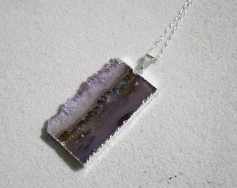 Amethyst Slice Pendant-Druzy-Silver lining