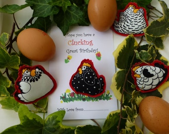 Chicken 'Happy Birthday' badge. 'Farm yard' Hen motif pin brooch with cheeky sentiment.