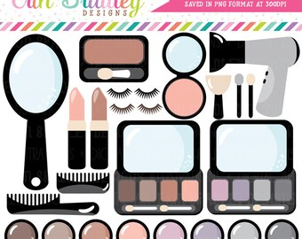 Beauty & Makeup Clipart Set Eyeshadow Lipstick Blush Hairdryer Instant Download Girls Clip Art Graphics Personal Commercial Use