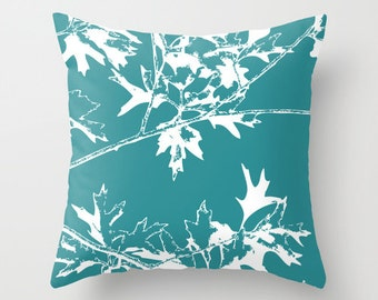 Autumn Leaves and Branches Pillow  - Fall Decorative Pillow - Rustic Home Decor - Decorative Pillow - Teal and White - By Aldari Home