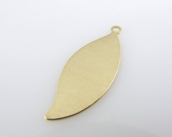 "Sale - BRASS LEAF W/R/iNG, 1 1/16"",  27mm,  Stamping Blank Personalized Organic Tree Jewelry 24 Gauge Hand Stamping Qty 6"