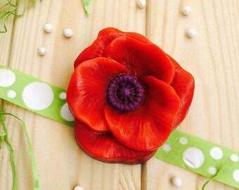 Natural Handmade Spring Flower Red Poppy Soap