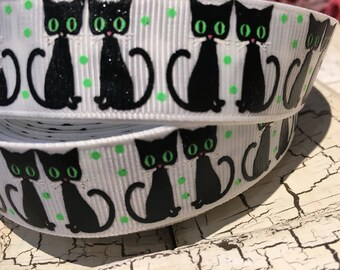 "7/8"" Black Halloween Cat Kitten on white grosgrain"