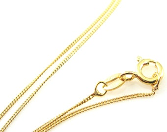 Gold Necklace Chain, Gold plated Sterling Silver Chain - Tiny Curb - Necklace Chain - Fine Gold Necklace Chain (16-20 inches) SKU: 601001VM