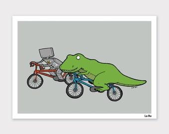 Robot and TRex Bike Race Print