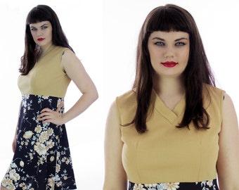 70s Floral Dress Mod Abstract Brown Black Tan 60s Retro Mad Men Sixties A-Line Mini Large L